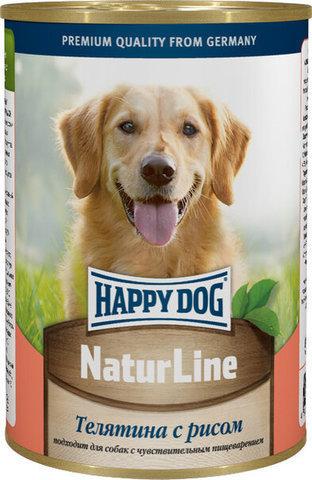 купить Happy Dog NaturLine Телятина с рисом консервы (рубленый фарш) для взрослых собак 400 гр
