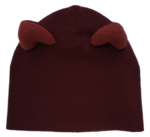 Женская бордовая зимняя шапочка с кошачьими ушками