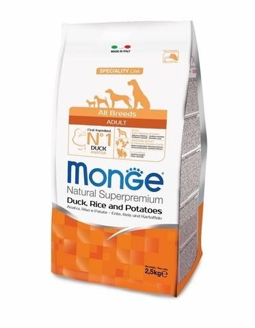 купить сухой корм Monge Speciality Line Adult All Breeds Duck, Rice and Potatoes для взрослых собак всех пород с уткой, рисом и картофелем
