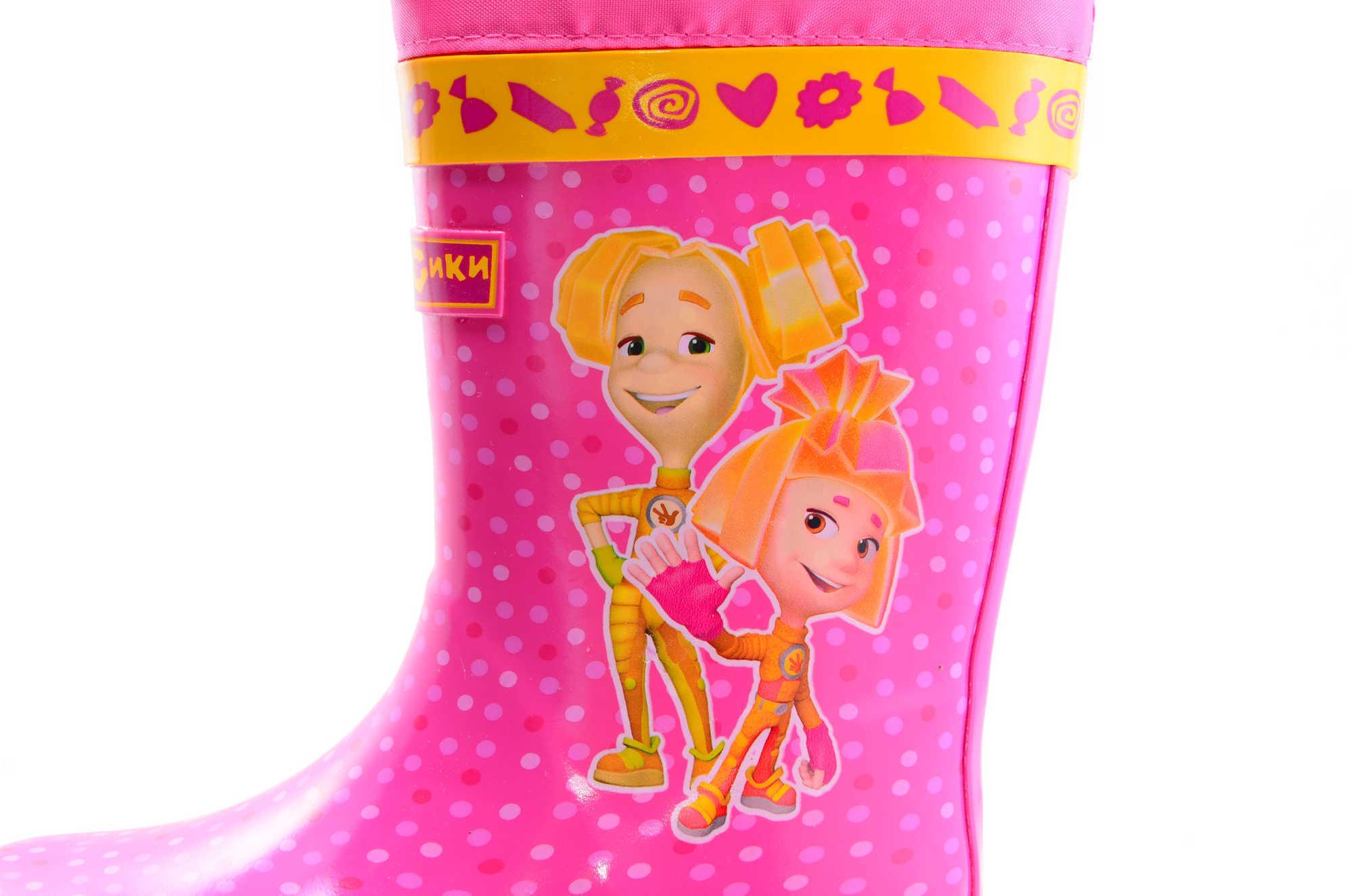 Резиновые сапоги для девочек на текстильной подкладке Фиксики, цвет фуксия