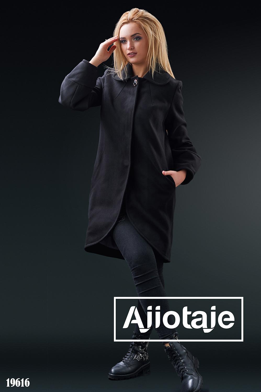 Пальто-кокон черного цвета на заклепках