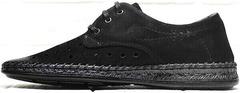 Кожаные туфли мужские мокасины летние смарт кэжуал Luciano Bellini 91754-S-315 All Black.