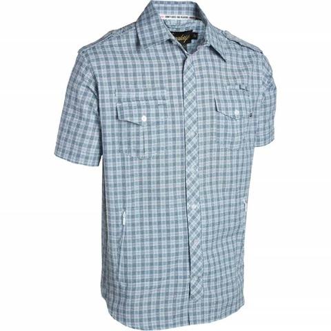 Рубашка синяя в мелкую клетку фото