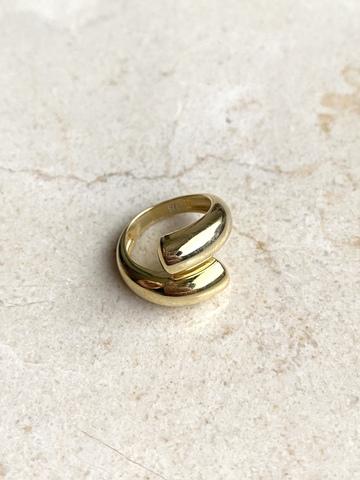 Кольцо Вихрь, позолоченное серебро