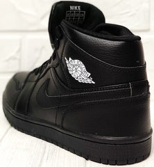 Мужские черные кроссовки ботинки зимние Nike Air Jordan 1 Retro High Winter BV3802-945 All Black