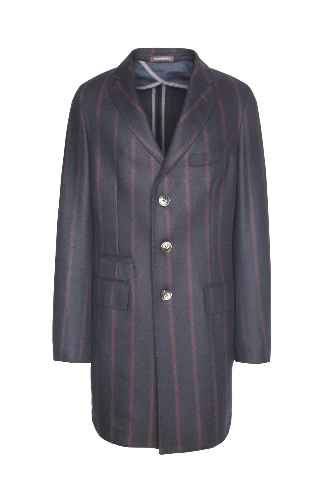 Классическое тёмно-синее шерстяное пальто в красную полоску