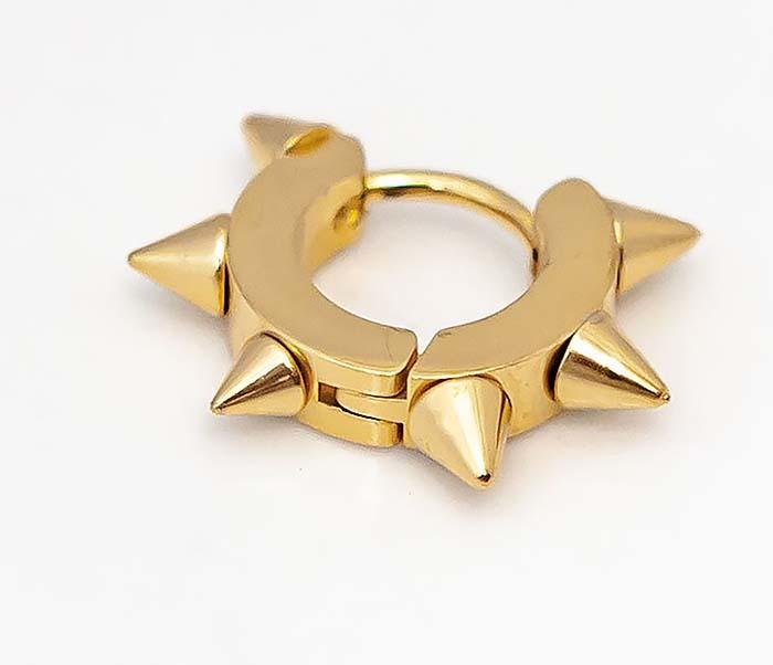 SSE-025-GD Стальные серьги «Spikes» золотого цвета с шипами фото 02