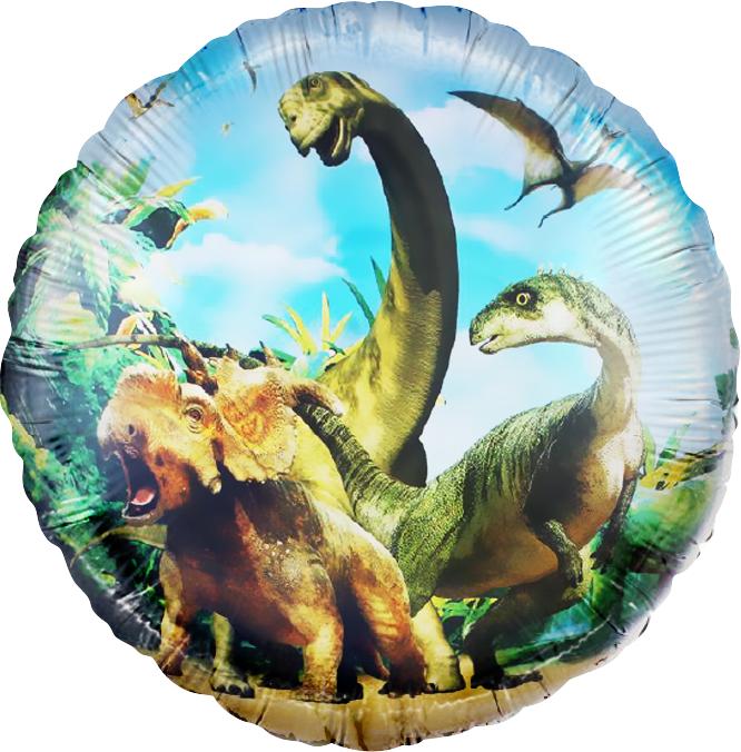 Фольгированный шар круг , Динозавры Юрского Периода