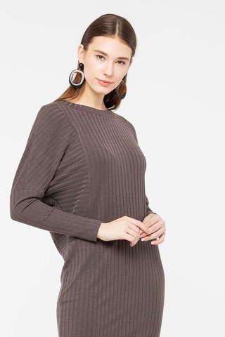 Фото коричневое вязаное платье с рукавом летучая мышь - Платье З407-630 (1)