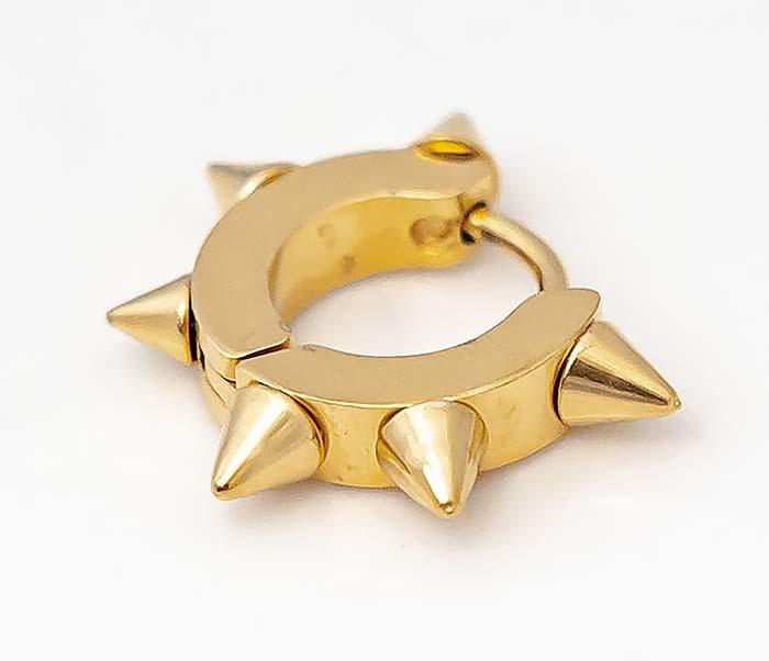 SSE-025-GD Стальные серьги «Spikes» золотого цвета с шипами фото 03