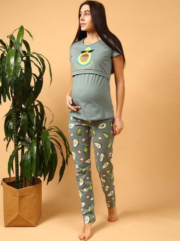 Мамаландия. Пижама для беременных и кормящих, авокадо/хаки