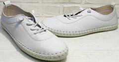 Дышащие кроссовки кеды женские белые смарт кэжуал стиль Rozen 115 All White.