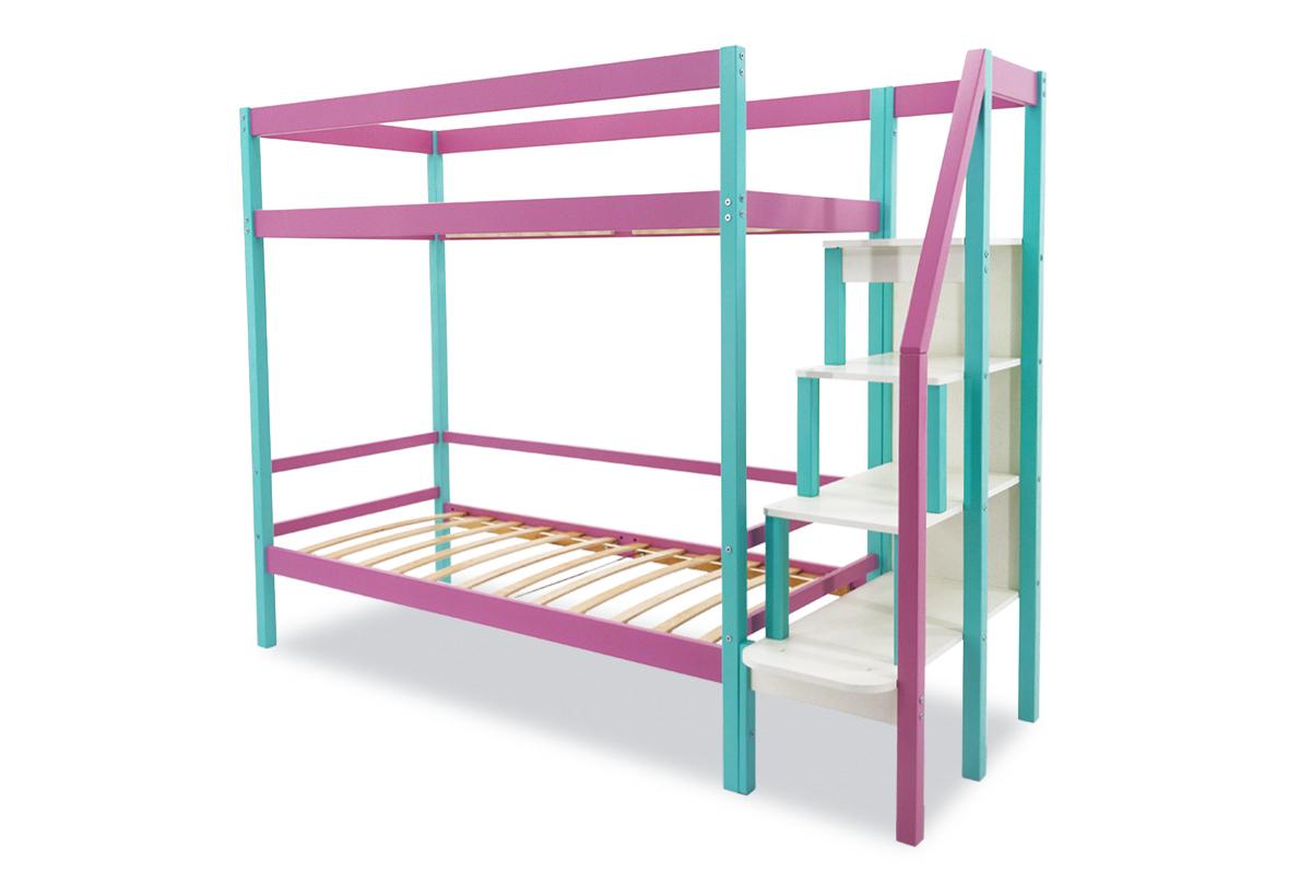 Двухъярусная кровать «Svogen» мятный-лаванда