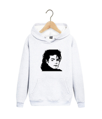 Толстовка белая с капюшоном (худи, кенгуру) и принтом Майкл Джексон (Michael Jackson) 002