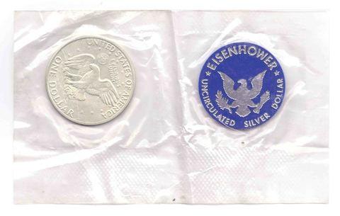 1 доллар 1971 год. (S) США Эйзенхауэр (лунный) с жетоном UNC