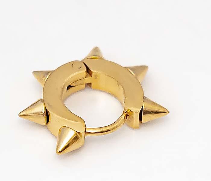 SSE-025-GD Стальные серьги «Spikes» золотого цвета с шипами фото 04
