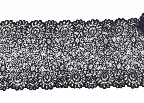 Эластичное кружево, ОПТ, 21,5 см, черное, (Арт: EK-2128), м