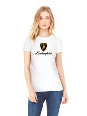 Футболка с принтом Ламборджини, Ламборгини (Lamborghini) белая w003