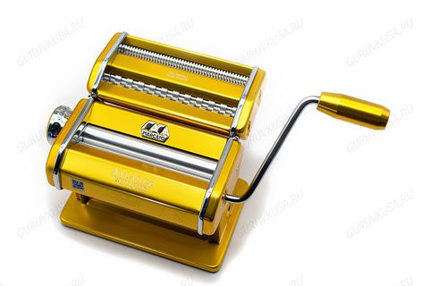 Машинка для раскатки теста для пельменей и нарезки лапши Атлас 150 , Италия, корпус цвета золота