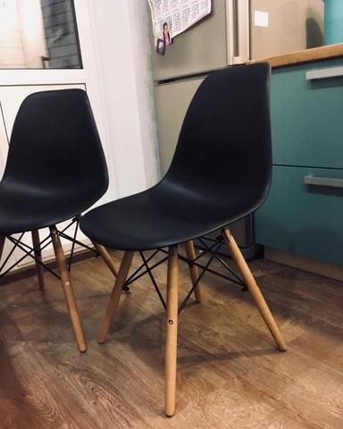 Интерьерный кухонный стул Eames DSW Style Wood, черный