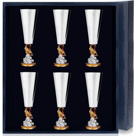 Набор серебряных рюмок «Золотая Рыбка» с позолотой из 6 предметов