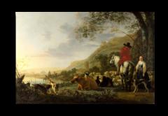 """Репродукция """" Альберт Кейп - Холмистый речной пейзаж с всадником, говорящим с пастушкой"""""""
