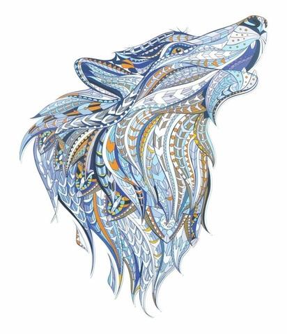 Алмазная Мозаика 30x40 Волк в голубых тонах
