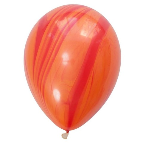 Шары супер агат, красно-оранжевые, 28 см