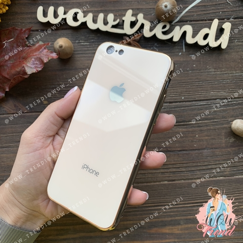 Чехол iPhone 6/6S Glass Case Logo /gold/