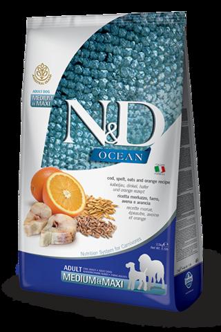 Сухой корм Farmina N&D OCEAN COD, SPELT, OATS & ORANGE ADULT MEDIUM & MAXI для взрослых собак средних и крупных пород