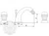Смеситель для биде на 3 отв. Korona Swarovski ML.KRN-4725 схема