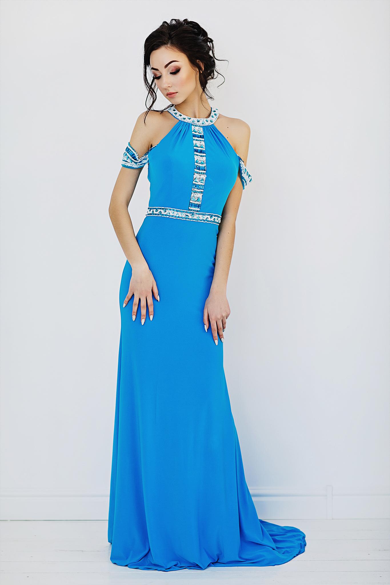Sherri Hill 50341 Голубое платье в пол, верх украшен камнями, юбка длинная и облегающая фигуру со шлейфом