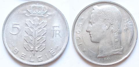 Бельгия 5 франков 1965