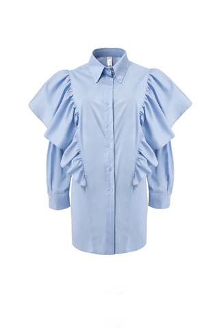 Рубашка из хлопка с воланами