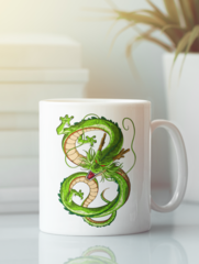 Кружка с изображением Дракон (Dragon) белая 008