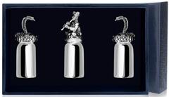 Набор серебряных рюмок «Заклинатель змей» с чернением из 3 предметов
