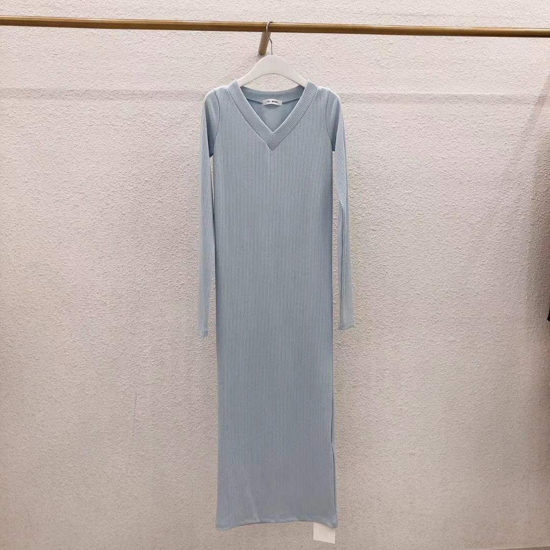 Платье лапша V вырез, голубой