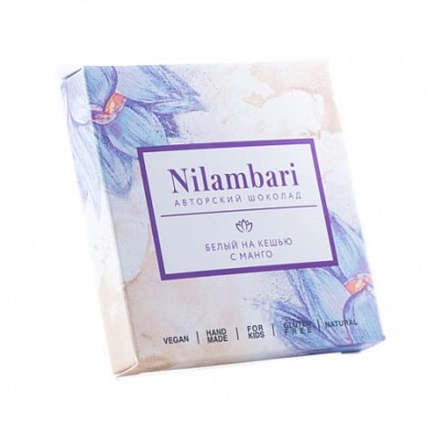 Nilambari шоколад белый на кешью с манго 65 г