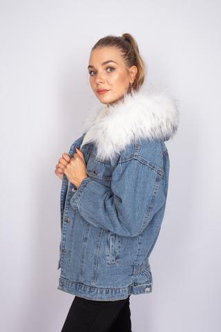 зимняя джинсовая куртка с мехом недорого