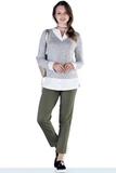 Джемпер-обманка для беременных 09857 серо-белый
