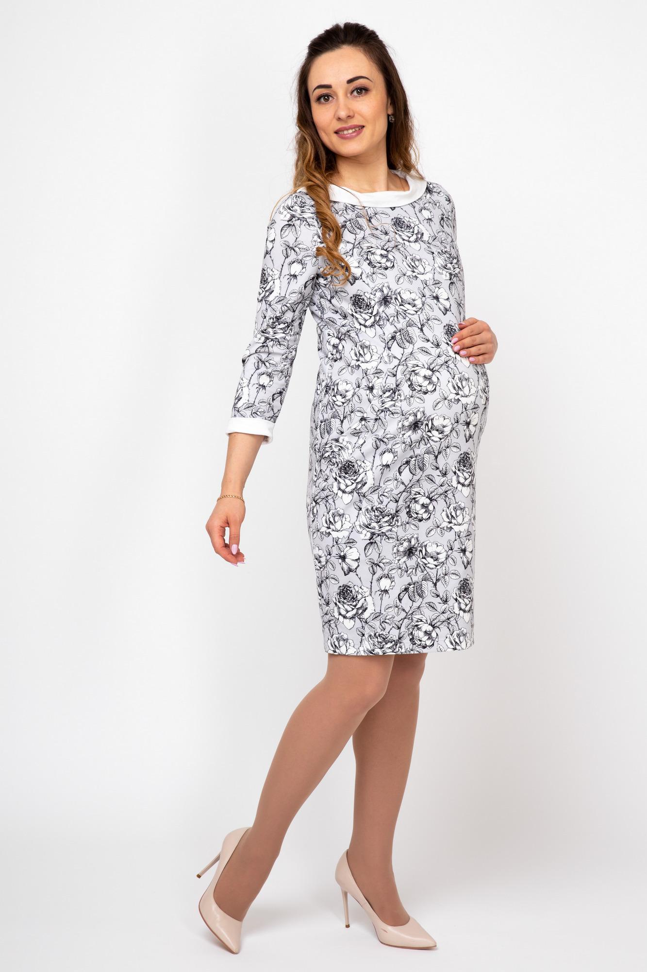Платье для беременных и кормящих 09917 серый-белый