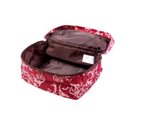 Мягкая сумка для мелких вещей, XS, 25*20*16 см (бордо с узорами)