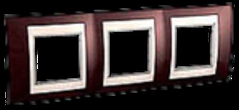 Рамка на 3 поста. Цвет Терракотовый/Белый. Schneider electric Unica Хамелеон. MGU6.006.851