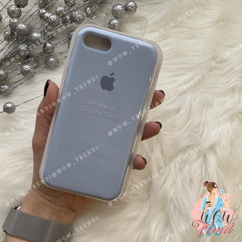 Чехол iPhone 7/8 Silicone Case /lilac cream/ голубой 1:1