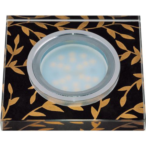 DLS-P205 GU5.3 CHROME/BLACK Светильник декоративный встраиваемый, серия Peonia. Квадратный. Без лампы, цоколь GU5.3. Металл/стекло. Хром/черный+золото. ТМ Fametto