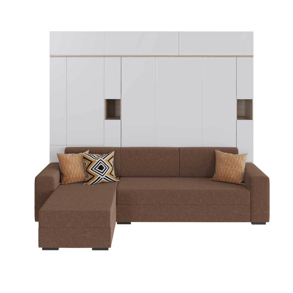 Шкаф-кровать вертикальная с угловым диваном Глория