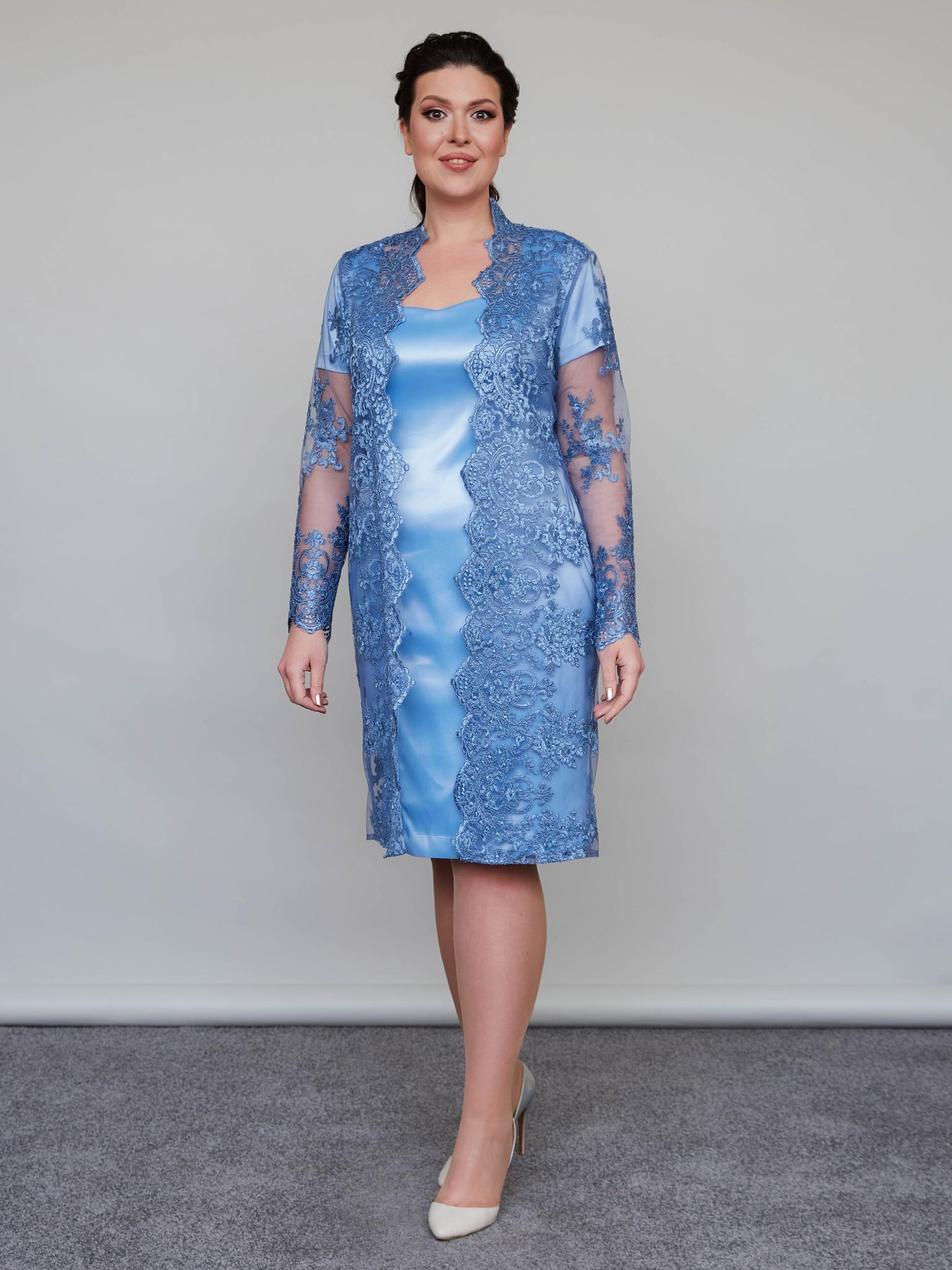 Нарядное платье с кружевным кардиганом + (голубой)
