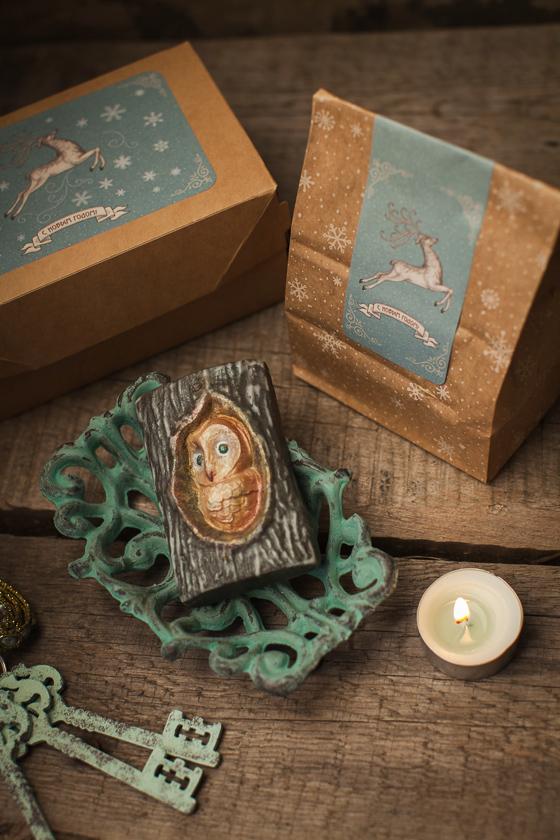 Крафт-пакет для мыла с рисунком Снежинки