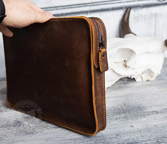 BAG417-2 Мужская деловая папка из кожи с ремнем на плечо фото 05