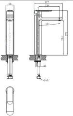 Смеситель KAISER Estilo 62111 для раковины высокий схема